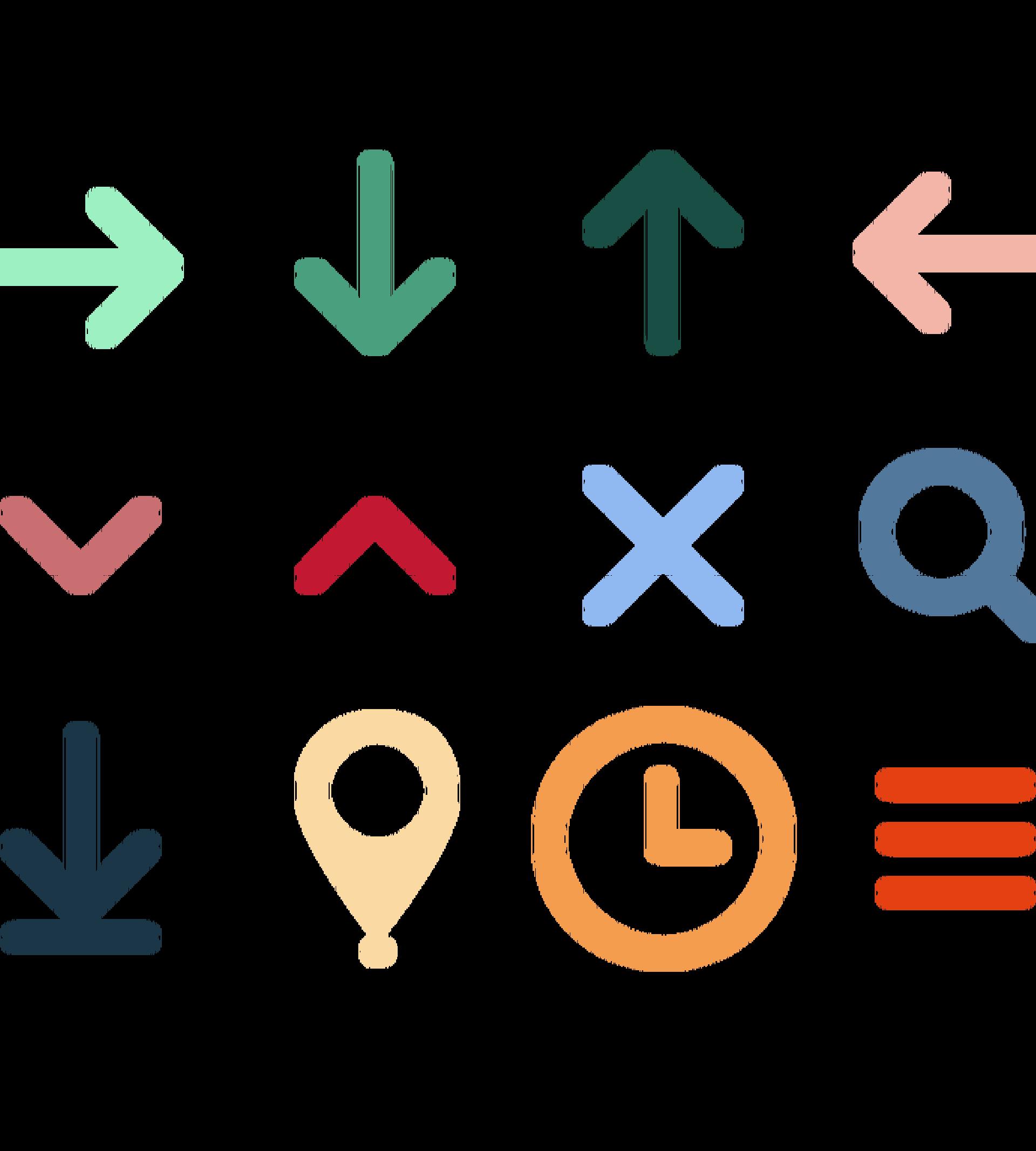 Exempel på ikoner i olika färger från nationalmuseum.se