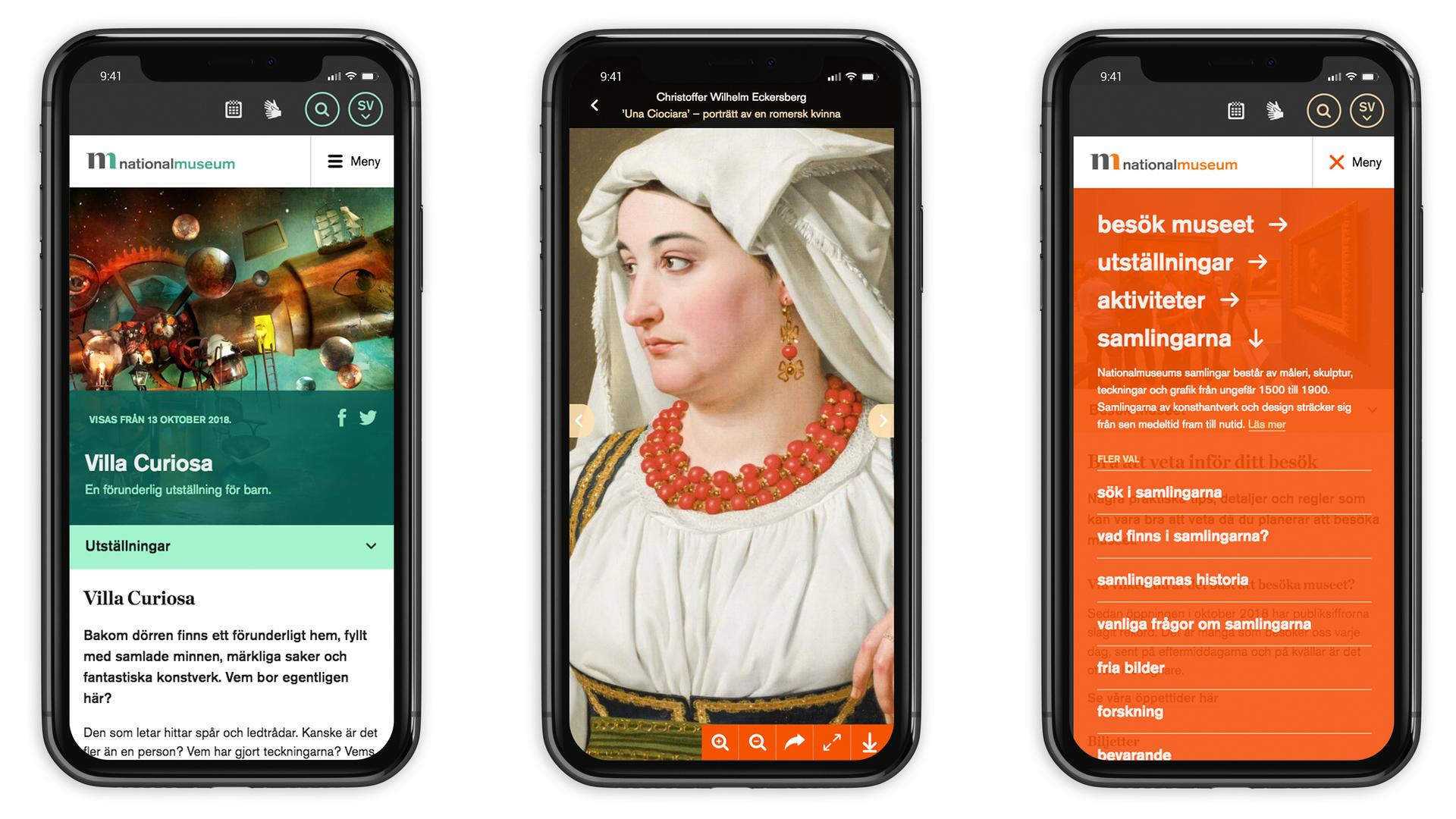 Tre mobiltelefoner som visar vyer från nationalmuseum.se